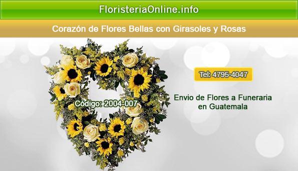 floristeria online en guatemala corazon de rosas y girasoles